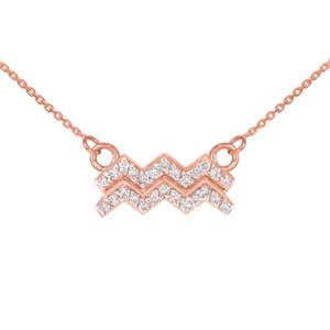 14K Rose Gold Aquarius Zodiac Sign Diamond Necklace