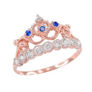 Blue CZ Rose Gold Crown Ring