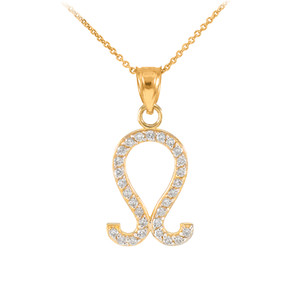 14K Gold Leo Zodiac Sign Diamond Pendant Necklace