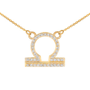 14K Gold Libra Zodiac Sign Diamond Necklace