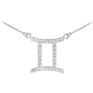 14K White Gold Gemini Zodiac Sign Diamond Necklace
