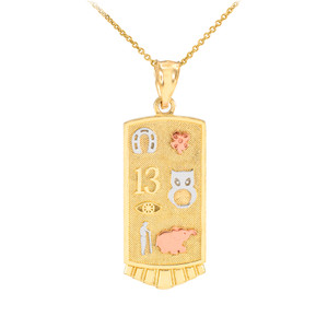 Solid Gold Lucky Pendant Necklace