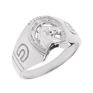 Sterling Silver Horseshoe with Horse Head Men's Ring