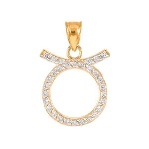 14K Gold Taurus Zodiac Sign Diamond Pendant Necklace