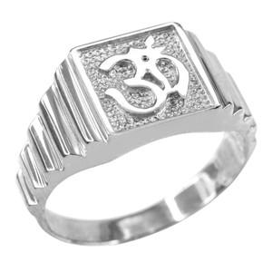 Sterling Silver Om Men's Ring