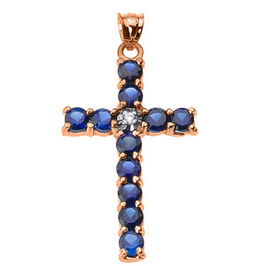 10k Rose Gold Diamond and Blue CZ Cross Pendant Necklace