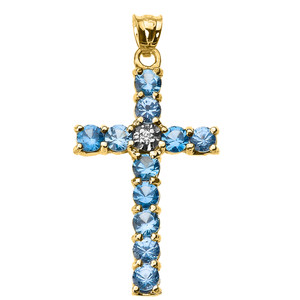 10k Yellow Gold Diamond and Light Blue CZ Cross Pendant Necklace