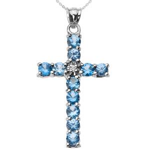 10k White Gold Diamond and Light Blue CZ Cross Pendant Necklace