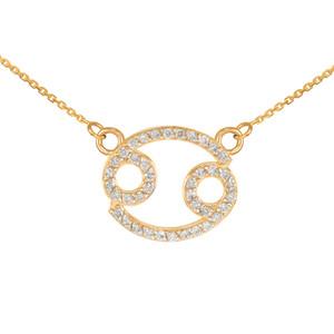 14K Gold Cancer Zodiac Sign Diamond Necklace