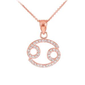 14K Rose Gold Cancer Zodiac Sign Diamond Pendant Necklace