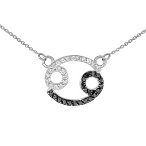 14K White Gold Cancer Zodiac Sign Black Diamond Necklace