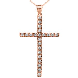 Rose Gold Cubic Zirconia Cross Pendant Necklace