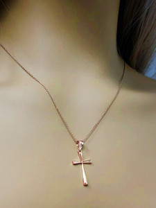 Solid Rose Gold Cross Pendant Necklace (Small)