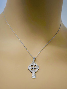 Sterling Silver Cubic Zirconia Trinity Knot Celtic Cross Pendant Necklace