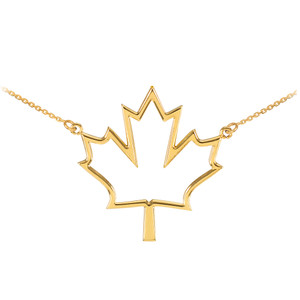 14k Yellow Gold Open Design Maple Leaf Charm Necklace