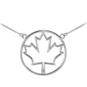 14k White Gold Open Design Maple Leaf Necklace