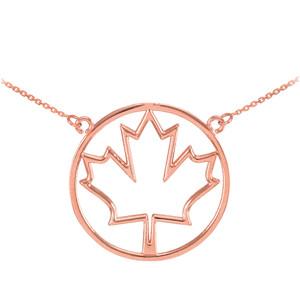 14k Rose Gold Open Design Maple Leaf Necklace