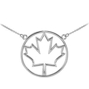 925 Sterling Silver Open Design Maple Leaf Necklace