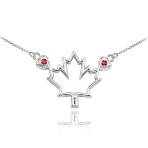 14k White Gold Open Design Maple Leaf Ruby Necklace