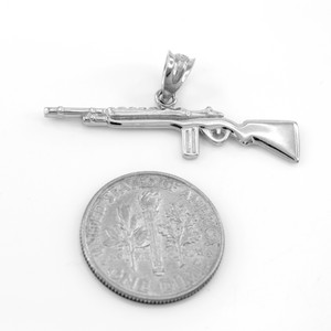 925 Sterling Silver Rifle with Magazine Pendant Necklace