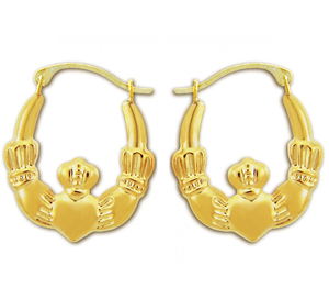 14KT Solid Gold Claddagh Earrings