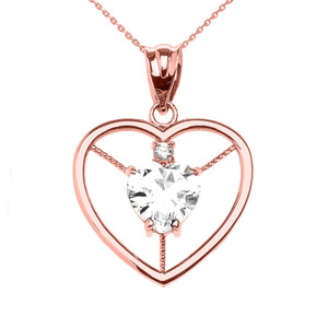 Elegant Rose Gold CZ and April Birthstone White CZ Heart Solitaire Pendant Necklace