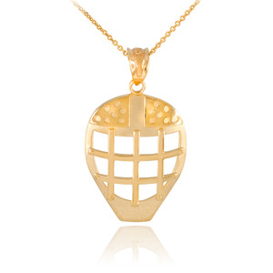 Gold Hockey Goalie Mask Sports Pendant Necklace
