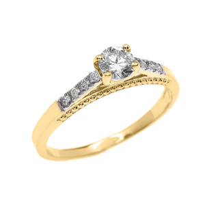 0.25 cts Diamond Engagement Ring in Yellow Gold