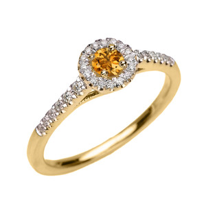Yellow Gold Diamond and Citrine Dainty Engagement and Proposal Ring