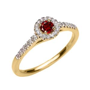 Yellow Gold Diamond and Garnet Dainty Engagement Proposal Ring