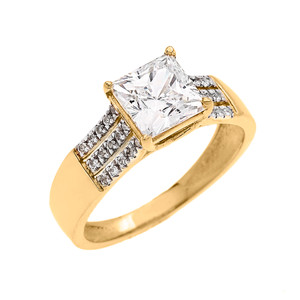 3 Carat Total Weight Cubic Zirconia Princess Cut Center-Stone Yellow Gold Engagement and Proposal Ring (Micro Pave setting)