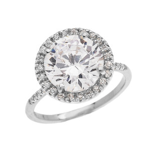 Diamond Halo & Round Cubic Zirconia Center  Micropave Engagement Ring in White Gold