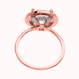 6.75 TCW Cubic Zirconia Halo Micropave Engagement Ring in Rose Gold