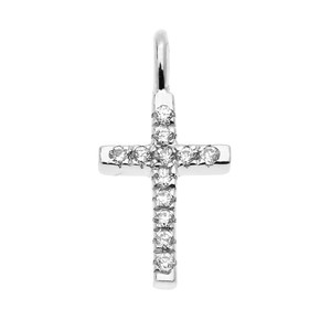 Dainty White Gold Cubic Zirconia Cross Charm Pendant Necklace
