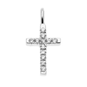 Dainty White Gold Diamond Cross Charm Pendant Necklace