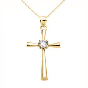 Beautiful Yellow Gold Solitaire Diamond Cross Dainty Pendant Necklace