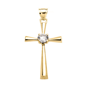 Beautiful Yellow Gold Solitaire Cubic Zirconia Cross Dainty Pendant Necklace