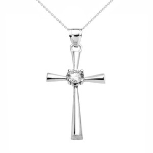 Beautiful White Gold Solitaire Cubic Zirconia Cross Dainty Pendant Necklace