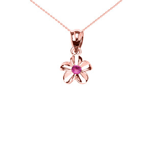 Delicate Rose Gold Hawaiian Plumeria Pinkish Red CZ Charm Pendant Necklace