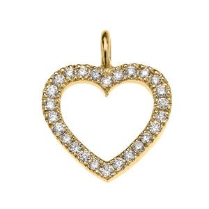 14k Yellow Gold Open Heart  Diamond Dainty Pendant Necklace