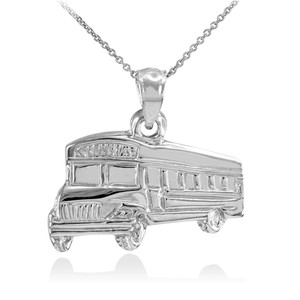 925 Sterling Silver School Bus Pendant Necklace