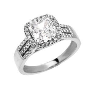 3 Carat Princess Cut CZ Halo Micro-Pave Engagement Ring in White Gold