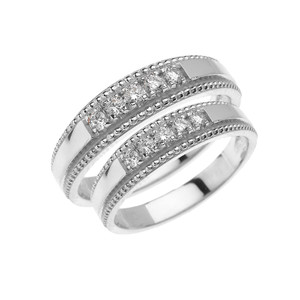 White Gold His and Hers Elegant Cubic Zirconia Wedding Band Rings