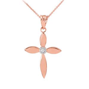 Beautiful Rose Gold Solitaire Diamond Cross Pendant Necklace