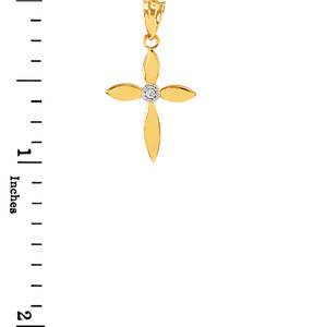 Dainty Yellow Gold Solitaire Diamond Cross Charm Pendant Necklace