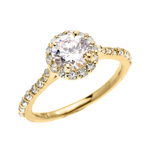 1.5 Carat Round CZ Halo Engagement Ring in Yellow Gold
