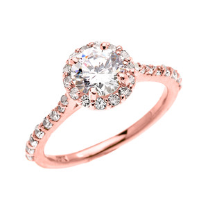 1.5 Carat Round CZ Halo Engagement Ring in Rose Gold