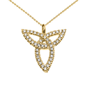 Yellow Gold Celtic Trinity Diamond Pendant Necklace
