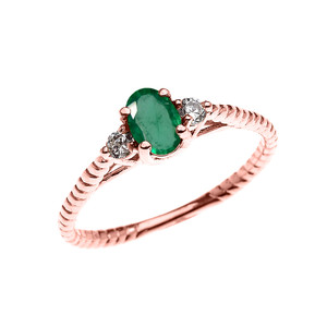 Dainty Rose Gold Emerald Solitaire Rope Design Engagement/Promise Ring