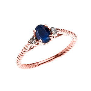 Dainty Rose Gold Sapphire Solitaire Rope Design Engagement/Promise Ring
